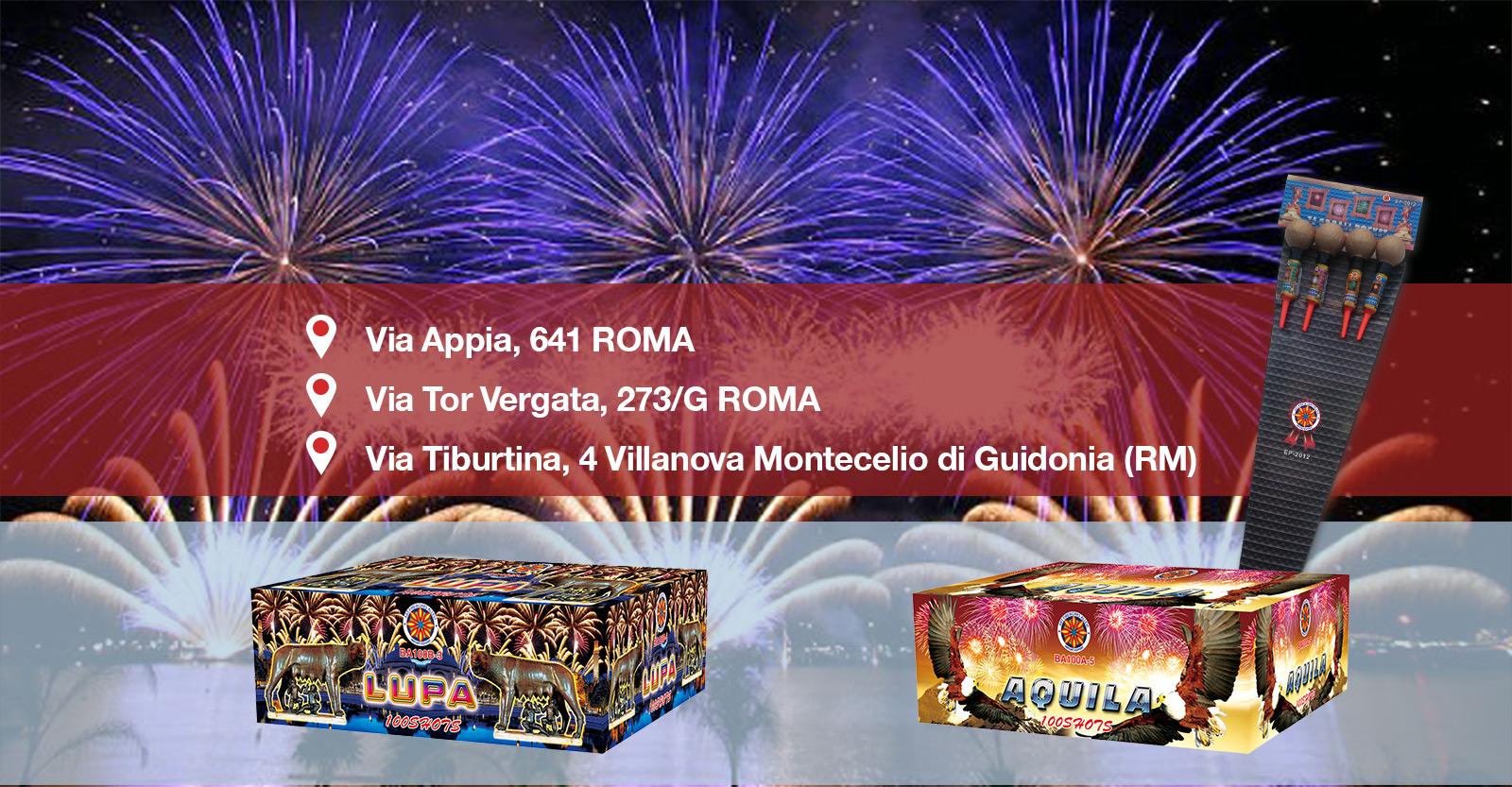 Punti vendita fuochi d'artificio Roma